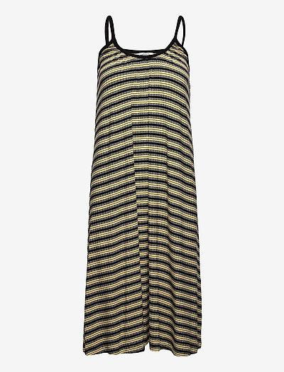 5x5 Stripe Duci - midi dresses - black/pale banana/white