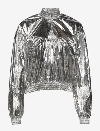 Crinkled Metal Bina - langærmede bluser - silver
