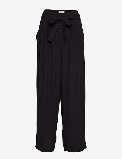 Crepe georgette Pleasy - bukser med brede ben - black