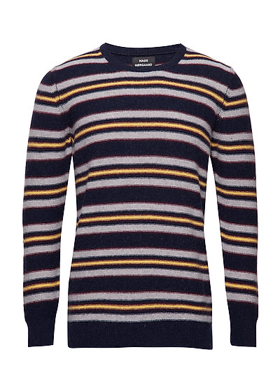 Reversed Knit Kenny Stripe - NAVY/GREY MELANGE/YELLOW/SASSA