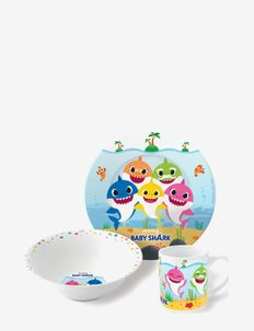 Baby Shark 3 pcs offset snack set, ceramic - serveringsset - multi coloured