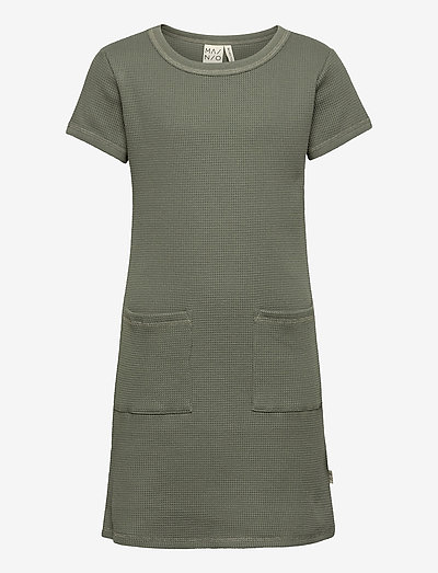 Waffle dress, Agave green - kleider - agave green