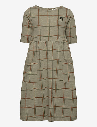 Check dress, slub - kleider - agave green