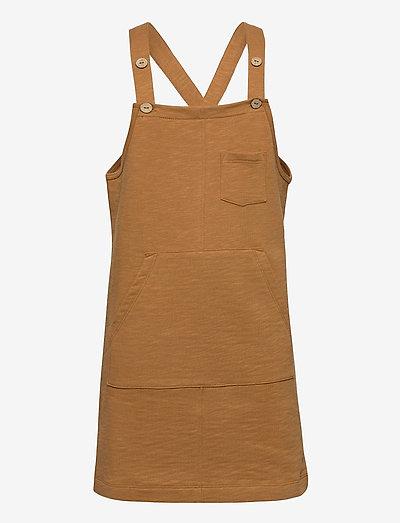 Slub pinafore dress - kleider - caramel