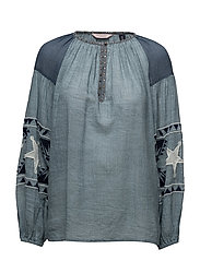Sheer cotton tunic top with special embroideries - INDIGO