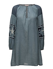 Sheer cotton tunic dress with special embroideries - INDIGO
