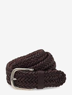BRAIDED LEATHER BELT - BROWN