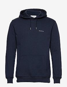 Trim Hooded Sweatshirt - basic sweatshirts - dark blue