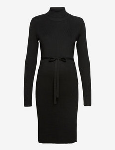 MLJACINA L/S KNIT ROLLNECK DRESS A - suvekleidid - black