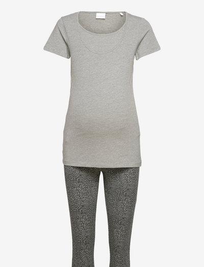 MLPATRINE NELL S/S ANIMAL PYJAMAS 2F A. - t-shirts - light grey melange