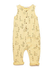 Cotton print jumpsuit - YELLOW
