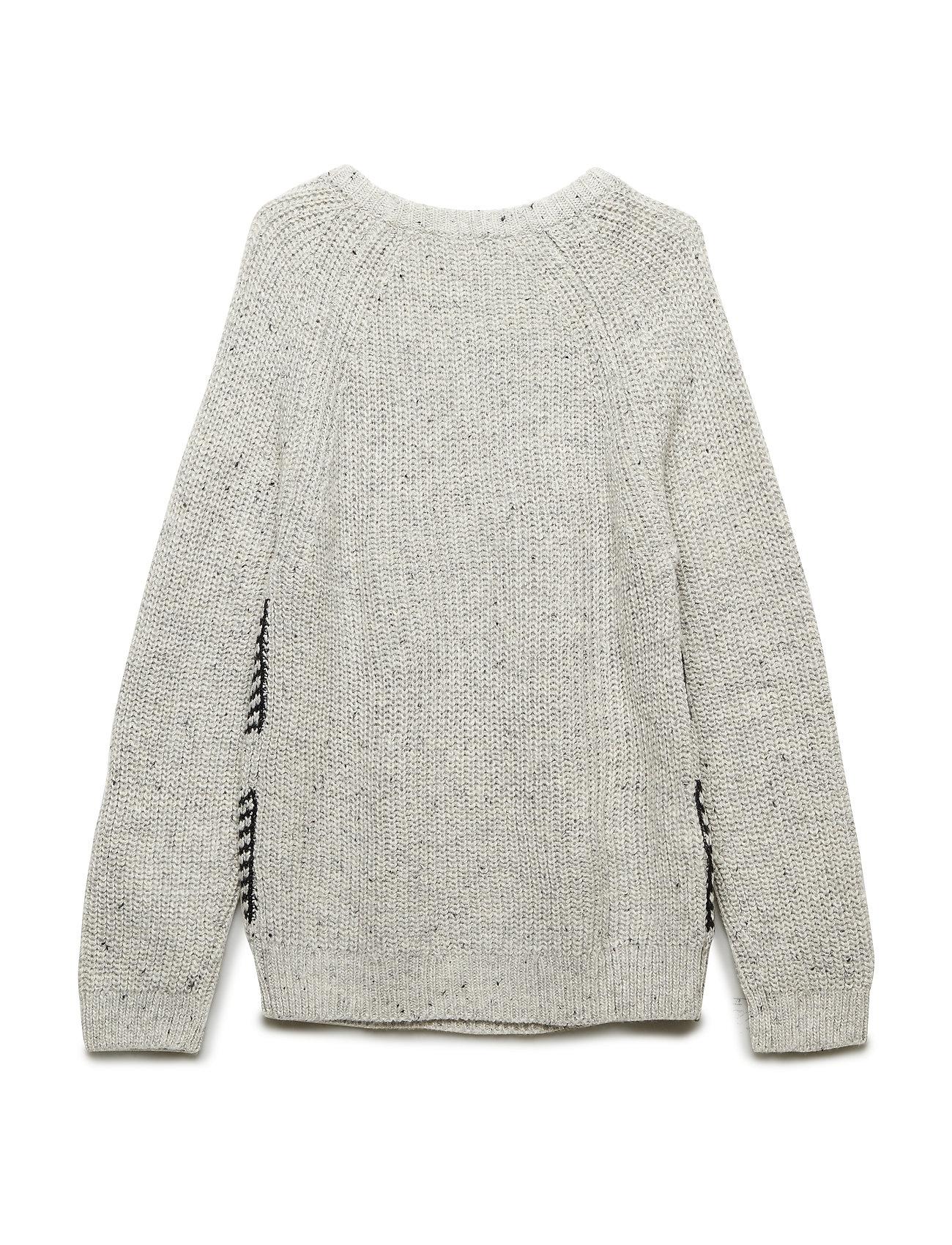 Contrasting Knit Sweater Pullover Striktrøje Grå MANGO KIDS