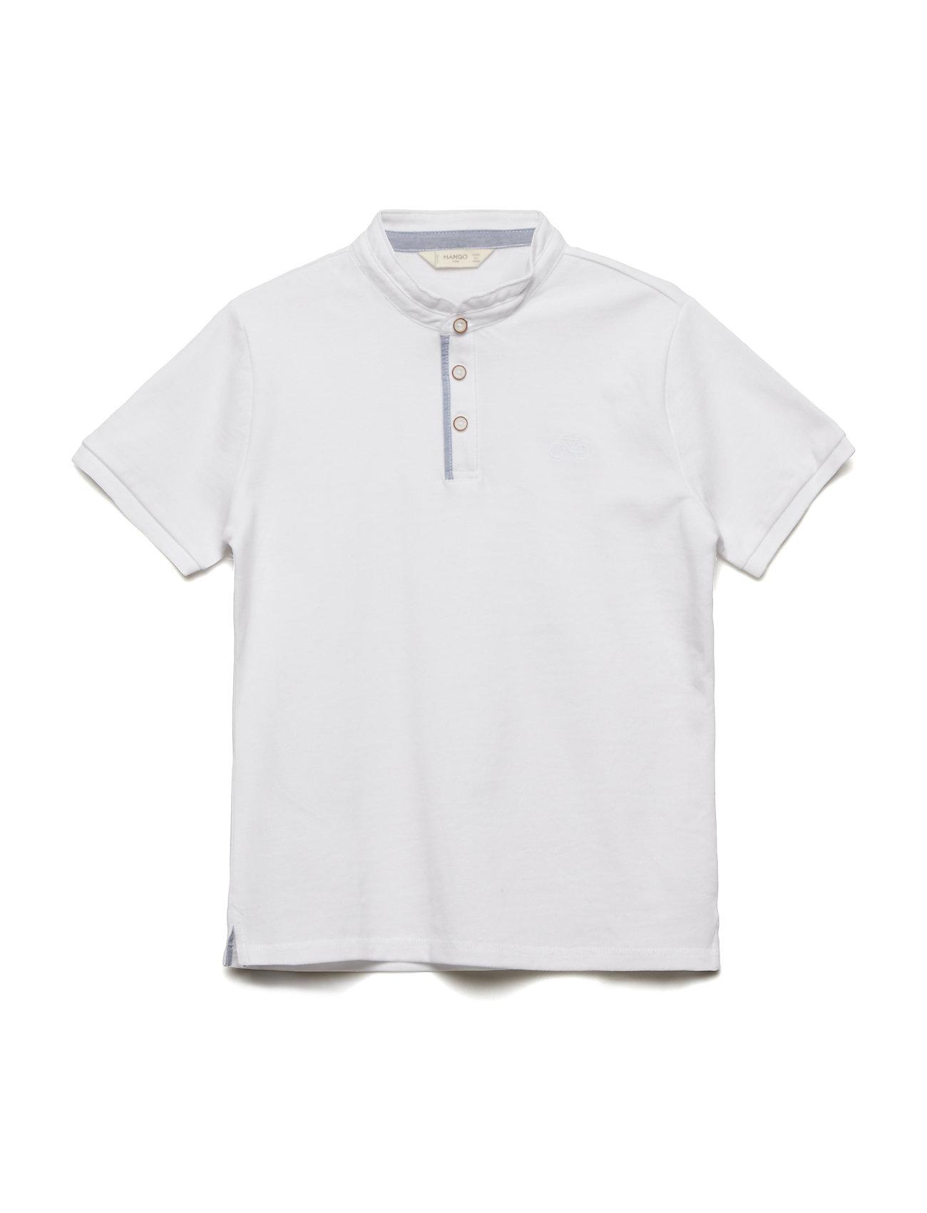 Image of Contrast-Edge Piqu Polo Shirt T-shirt Polo Hvid MANGO KIDS (3113431097)
