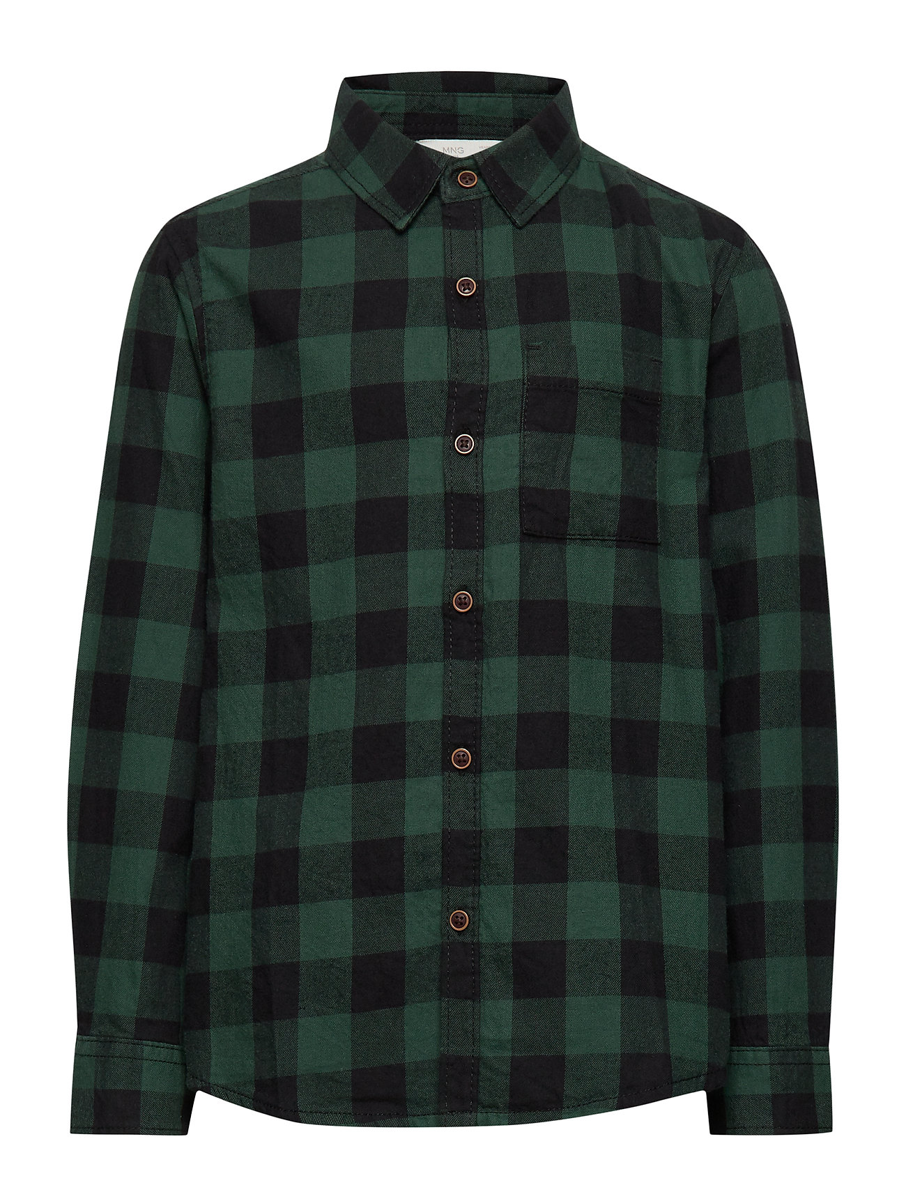 Mango Kids Chest-pocketed check shirt - GREEN