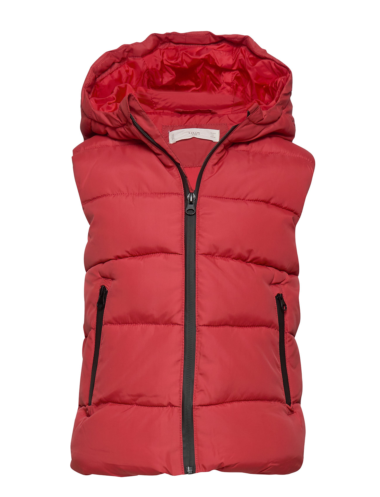 Mango Kids Hooded water-repellent quilted gilet - RED