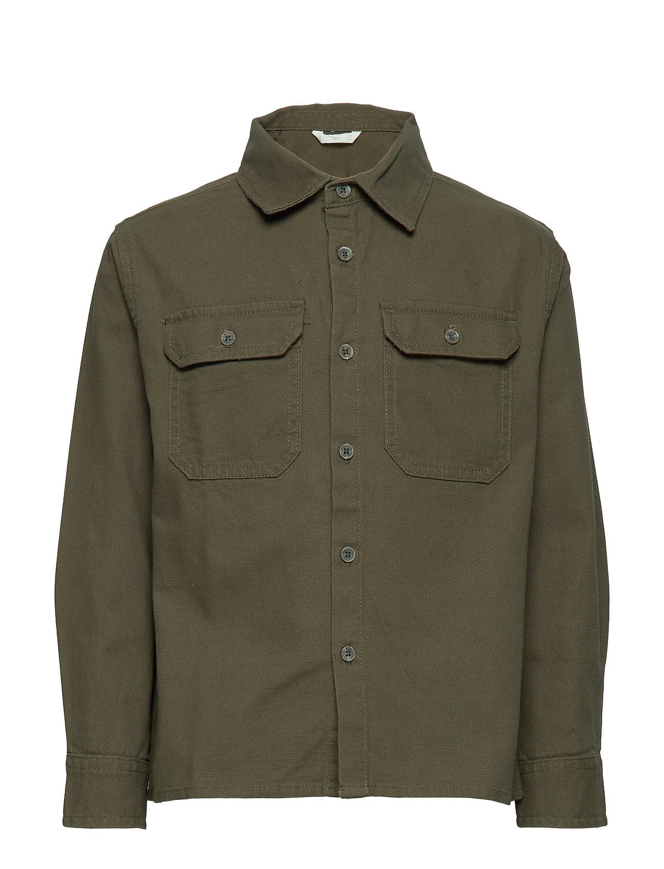 Mango Kids Chest-pocket cotton overshirt - BEIGE - KHAKI