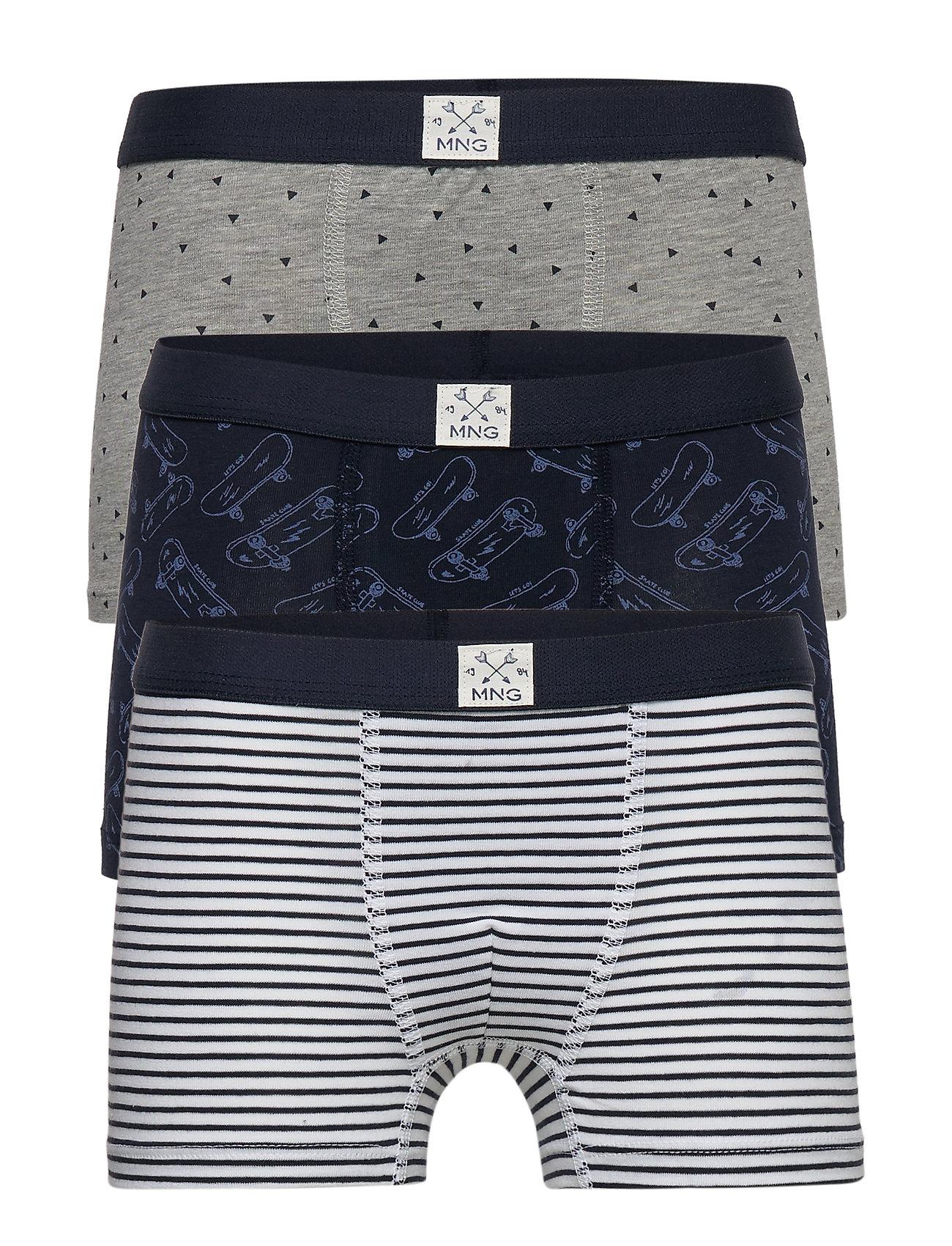 Mango Kids Printed organic cotton boxer shorts - NAVY