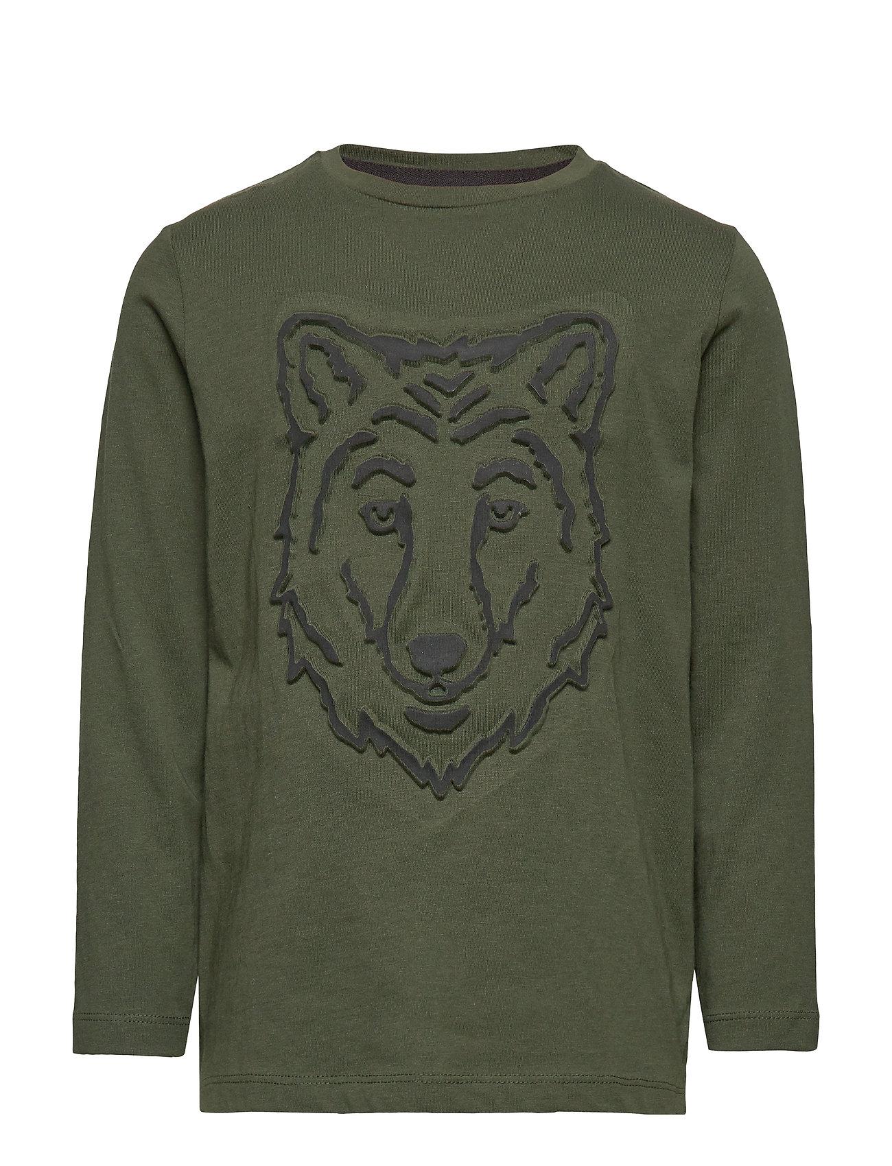 Mango Kids Embossed wolf t-shirt - GREEN