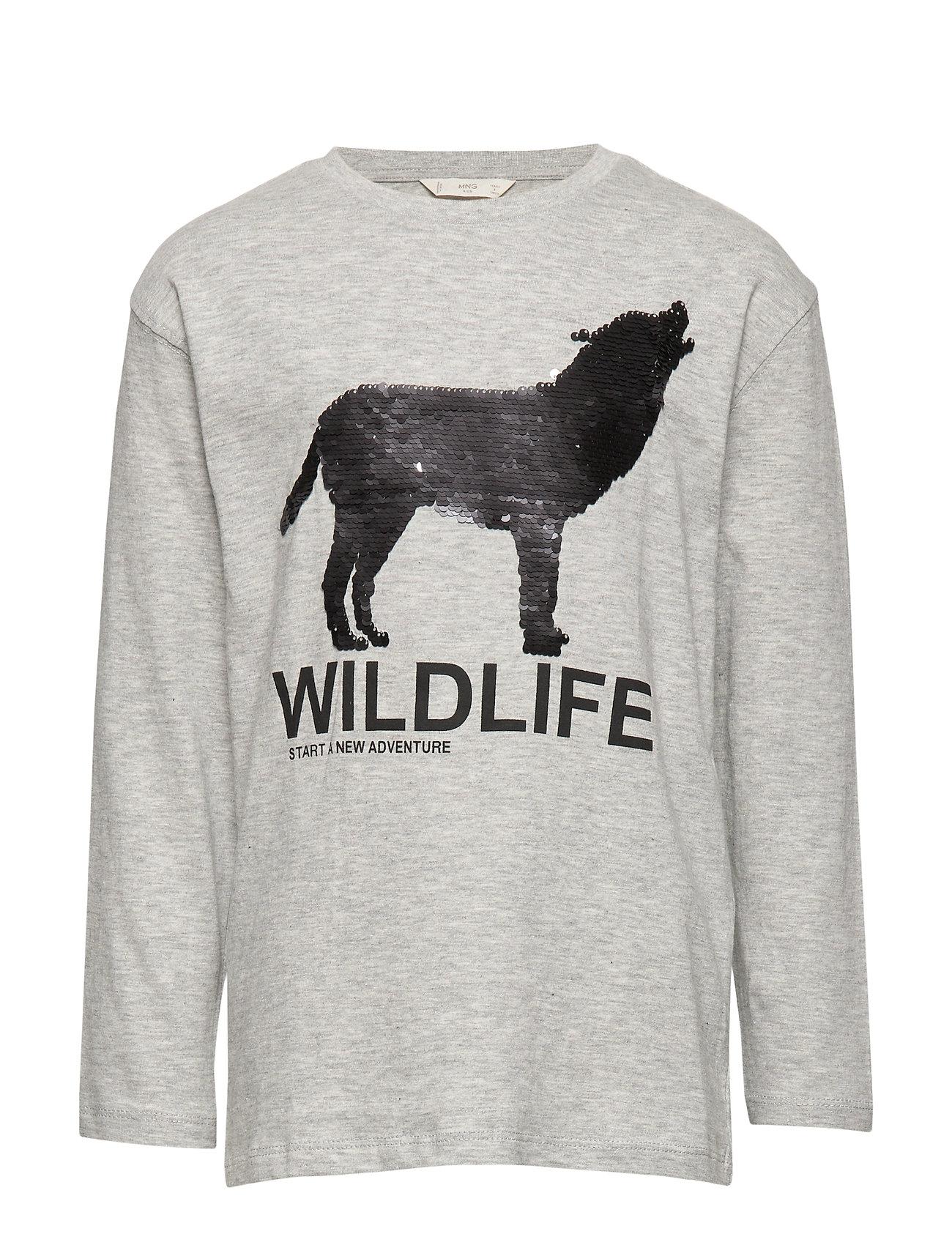 Mango Kids Reversible sequins wolf t-shirt - MEDIUM GREY