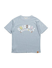 Embroidered message t-shirt - MEDIUM BLUE