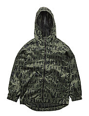Hooded printed jacket - BEIGE - KHAKI