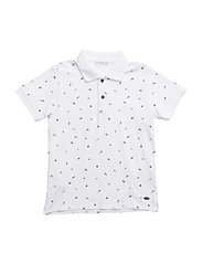 Printed cotton polo shirt - WHITE