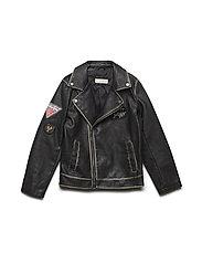Patched biker jacket - BLACK