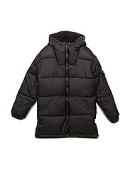 Hooded water-repellent quilted jacket - BLACK