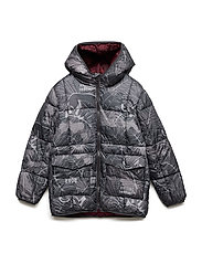 Hood quilted coat - CHARCOAL