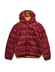 Quilted feather coat - DARK RED