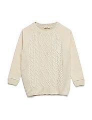 Contrasting knit sweater - LIGHT BEIGE