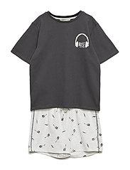 Printed Short Pyjamas Pyjamas Set Grå MANGO KIDS