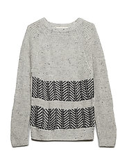 Contrasting knit sweater - GREY