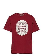Message Cotton T-Shirt T-shirts Short-sleeved T-shirts Rød MANGO KIDS