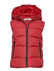Hooded water-repellent quilted gilet - RED