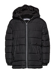 Hood quilted coat - BLACK