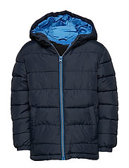 Hood quilted coat - NAVY