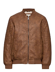 Faux shearling bomber jacket - DARK BROWN