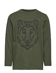 Embossed wolf t-shirt - GREEN