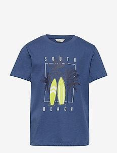 Boats printed cotton t-shirt - NAVY