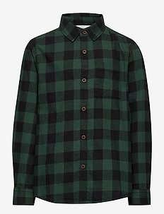 Chest-pocketed check shirt - GREEN
