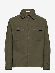 Chest-pocket cotton overshirt - BEIGE - KHAKI