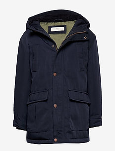 Feather down hooded coat - NAVY