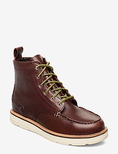 Contrast lace-up leather boots - BROWN