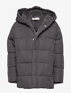 Hooded water-repellent quilted jacket - GREY
