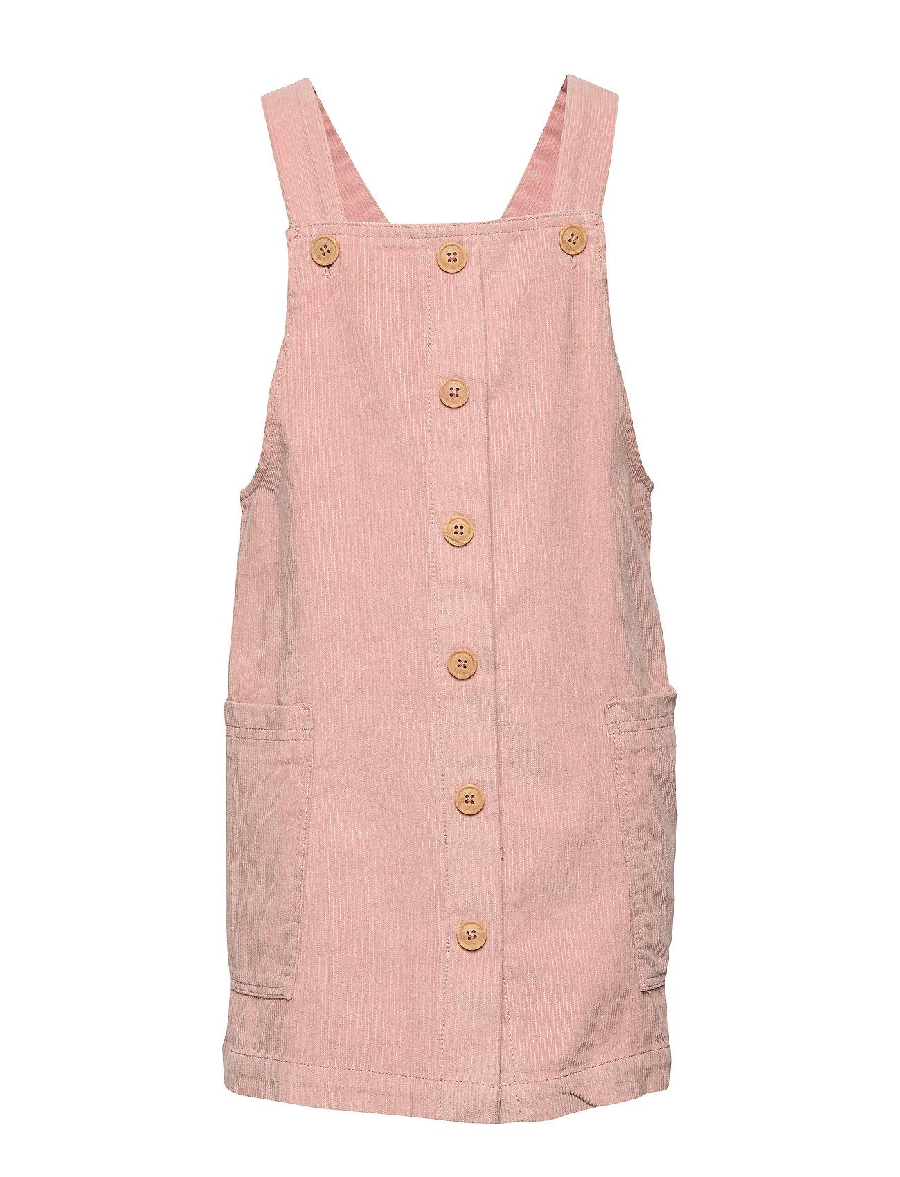Mango Kids Buttons corduroy pinafore dress - PINK