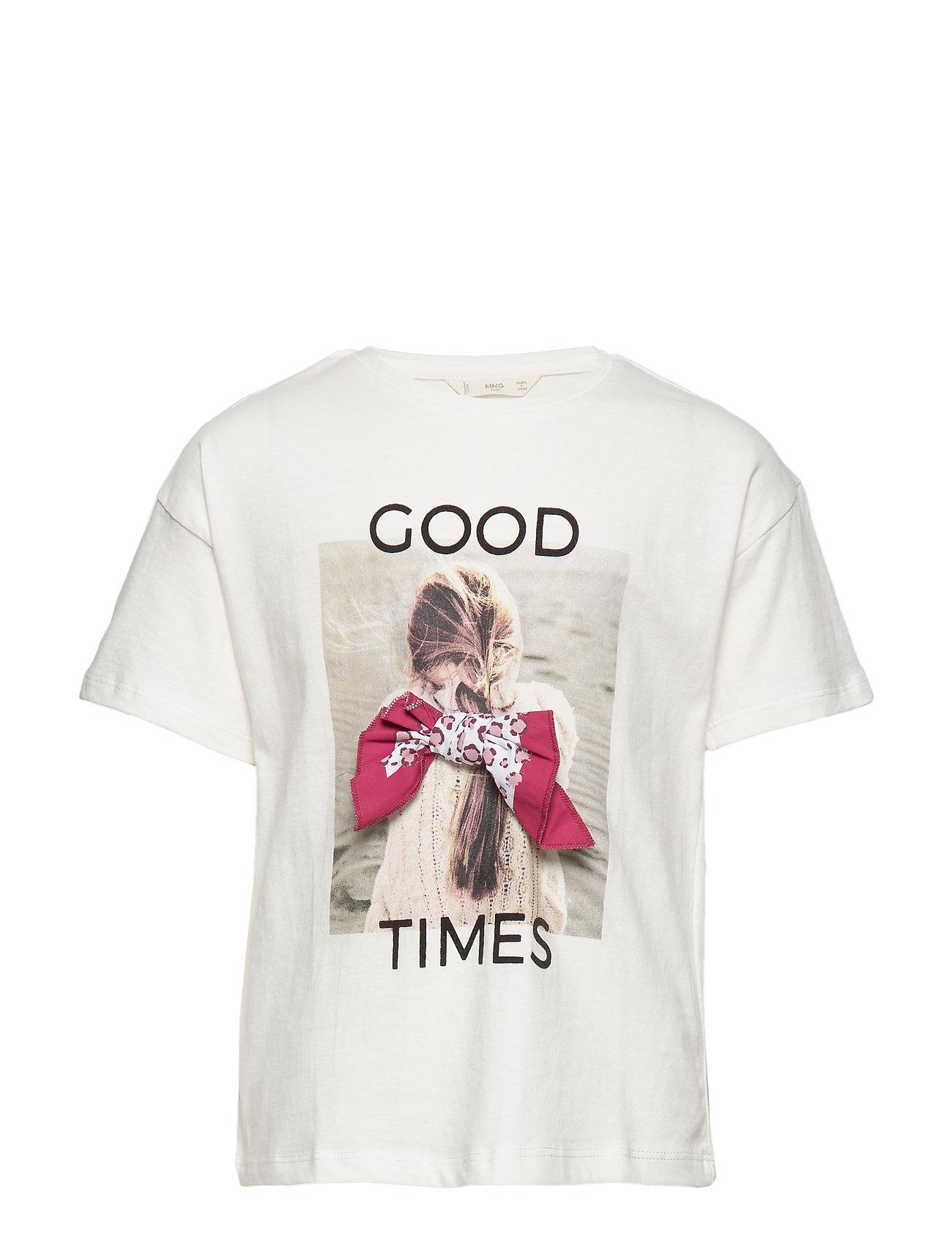 Mango Kids Message cotton t-shirt - NATURAL WHITE