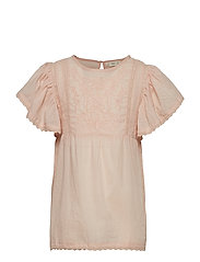 Ruffled Embroidered Blouse Bluse Tunika Rosa MANGO KIDS