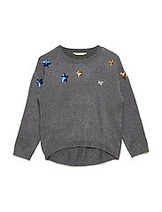 Sequinned stars sweater - GREY