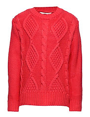 Cable-knit sweater - BRIGHT RED